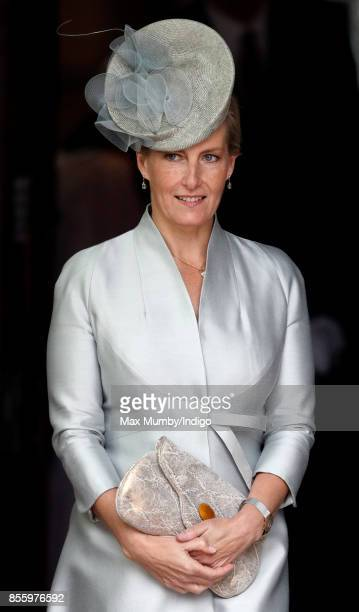 Sophie Countess of Wessex departs after attending a service of thanksgiving at St Martin's Church before the Headley Court Farewell Parade on...