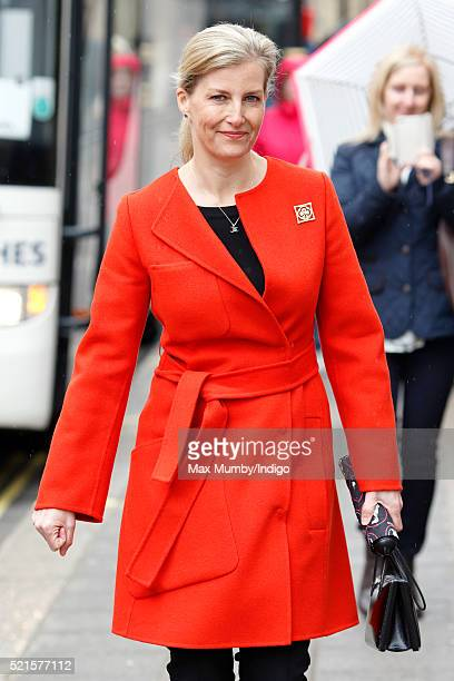 Sophie Countess of Wessex departs after opening the newly refurbished Girlguiding head office on April 16 2016 in London England