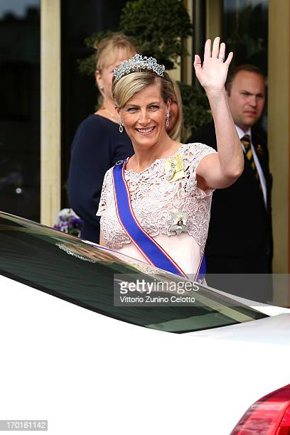 Sophie Countess of Wessex departs The Grand Hotel to attend the wedding of Princess Madeleine of Sweden and Christopher O'Neill hosted by King Carl...