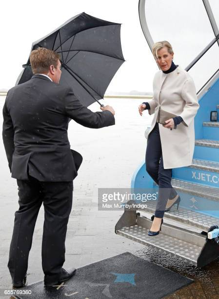 Sophie Countess of Wessex disembarks following a tour of the Orbis Flying Eye Hospital at Stansted Airport on March 20 2017 in London England Eye...