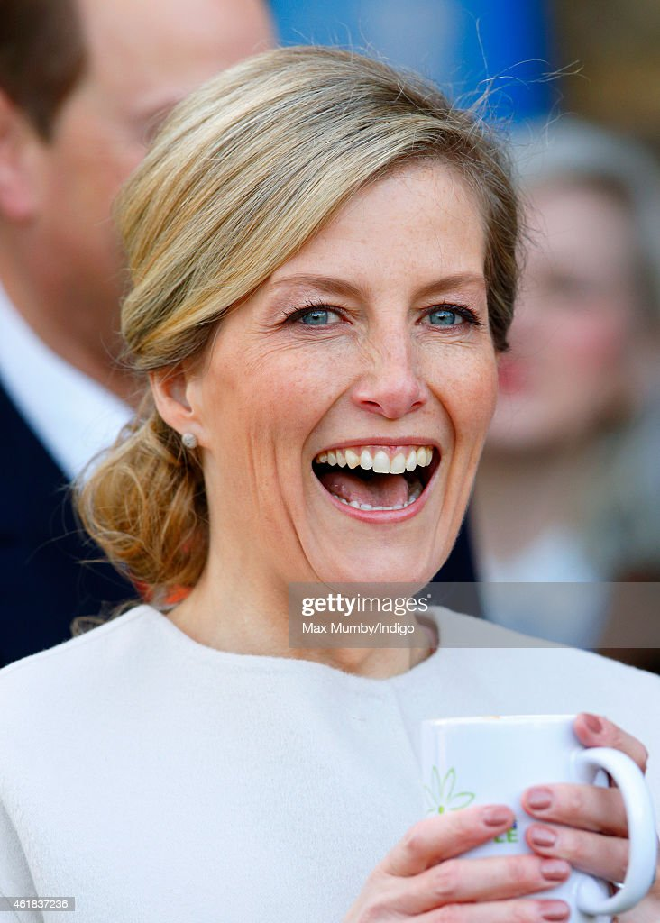 Sophie, Countess of Wessex drinks a cup of coffee as she and Prince Edward, Earl of Wessex visit the Tomorrow's People Social Enterprises at St Anselm's Church, Kennington on her 50th birthday on January 20, 2015 in London, England.