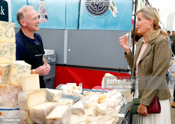 Sophie, Countess of Wessex eats a sample of cheese as she visits the Westmorland County Show on September 9, 2021 in Milnthorpe, England.