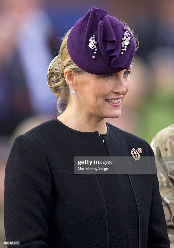 Sophie, Countess of Wessex in her role as Colonel-In-Chief of QARANC (Queen Alexandra's Royal Army Nursing Corp) attends a Medals Parade for Army nurses of the 22 Field Hospital at Normandy Barracks on November 02, 2012 in Aldershot, England.