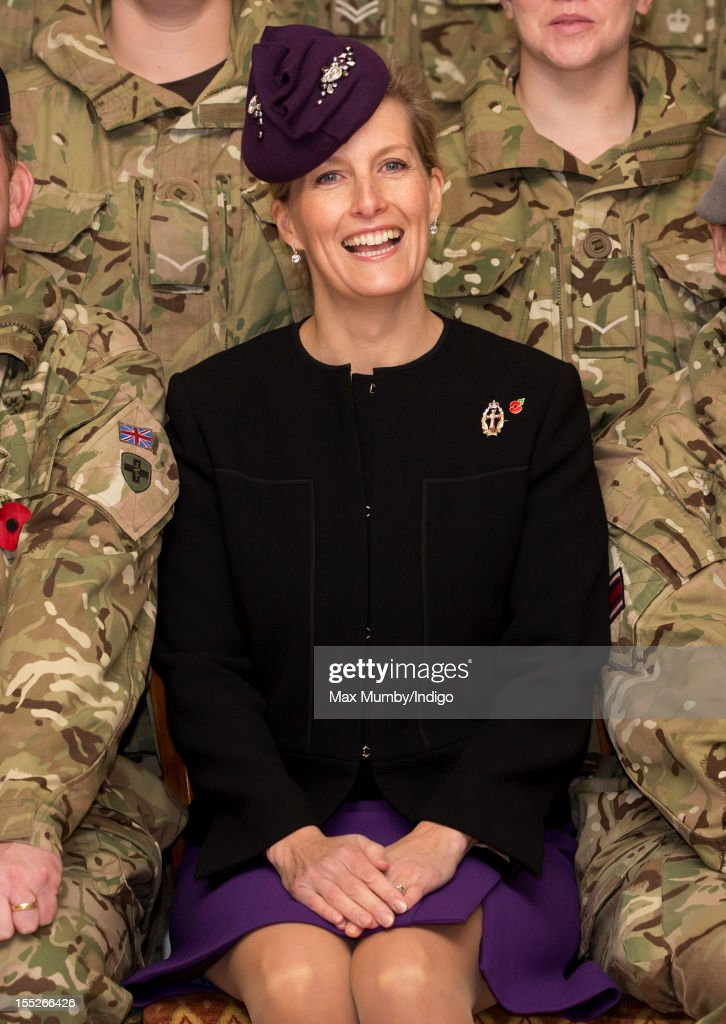 Sophie, Countess of Wessex in her role as Colonel-In-Chief of QARANC (Queen Alexandra's Royal Army Nursing Corp) poses for a photograph with Army personnel as she attends a Medals Parade for Army nurses of the 22 Field Hospital at Normandy Barracks on November 02, 2012 in Aldershot, England.