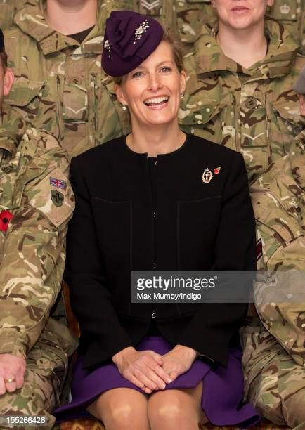 Sophie Countess of Wessex in her role as ColonelInChief of QARANC poses for a photograph with Army personnel as she attends a Medals Parade for Army...