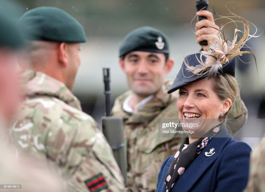 Sophie, Countess of Wessex (in her role as Royal Colonel, 5th Battalion The Rifles) inspects soldiers of 5 Rifles as she attends their homecoming parade following a nine month operational deployment to Estonia at Ward Barracks, Bulford Camp on November 14, 2017 in Salisbury, England.