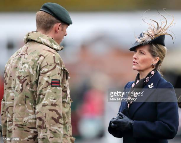 Sophie Countess of Wessex inspects soldiers of 5 Rifles as she attends their homecoming parade following a nine month operational deployment to...