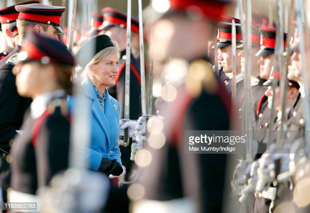 Sophie Countess of Wessex inspects the Officer Cadets as she represents Her Majesty The Queen as the Reviewing Officer during The Sovereign's Parade...