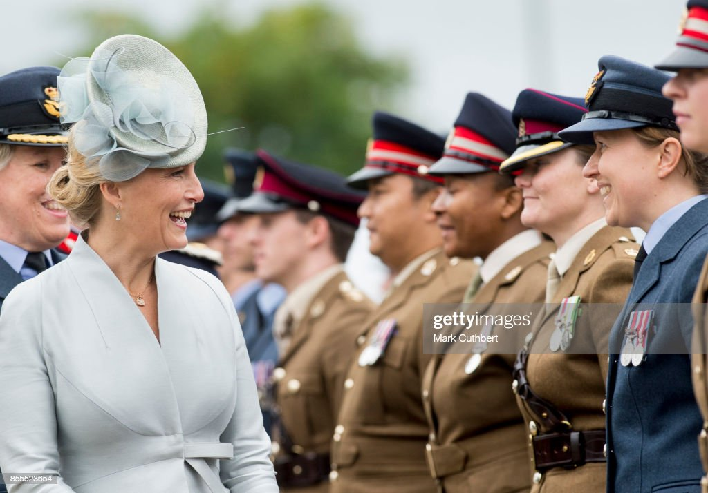 Sophie, Countess Of Wessex, inspects the troops as part of the Headley Court Farewell parade at St Martins Church on September 29, 2017 in Dorking, England.