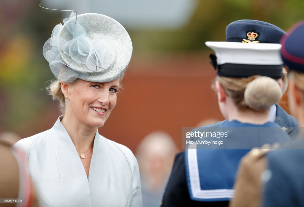 Sophie, Countess of Wessex inspects the troops as she attends the Headley Court Farewell Parade on September 29, 2017 in Dorking, England. A service of thanksgiving at St Martin's Church and a farewell parade mark the beginning of a year of events prior to the Defence Medical Rehabilitation Centre (DMRC), currently based at Headley Court, relocating to a new purpose built facility on the Stanford Hall estate near Loughborough.
