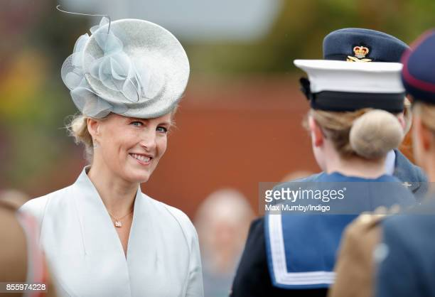 Sophie, Countess of Wessex inspects the troops as she attends the Headley Court Farewell Parade on September 29, 2017 in Dorking, England. A service...