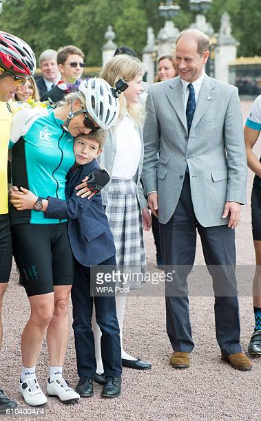 Sophie Countess of Wessex is greeted by Prince Edward Earl of Wessex and her children Lady Louise Windsor and James Viscount Severn as she arrives...