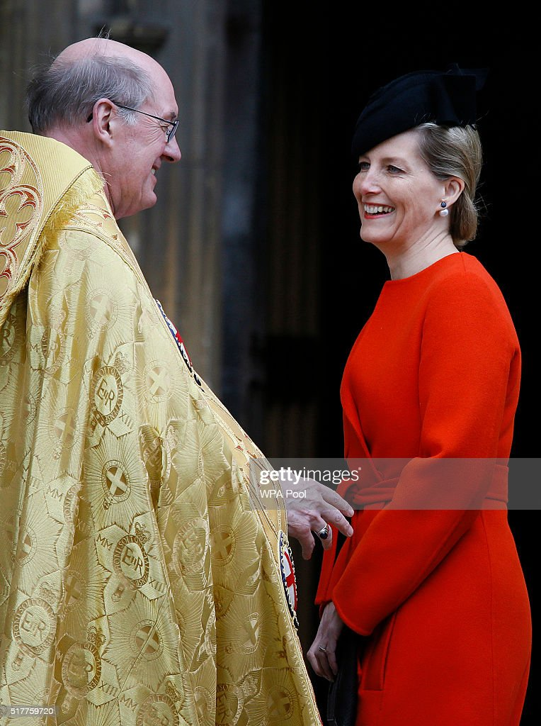 Sophie, Countess of Wessex is greeted by the Dean of Windsor, The Right Reverend David Conner as she arrives for the Easter Mattins service at St George's Chapel, Windsor Castle on March 27, 2016 in Windsor, England.