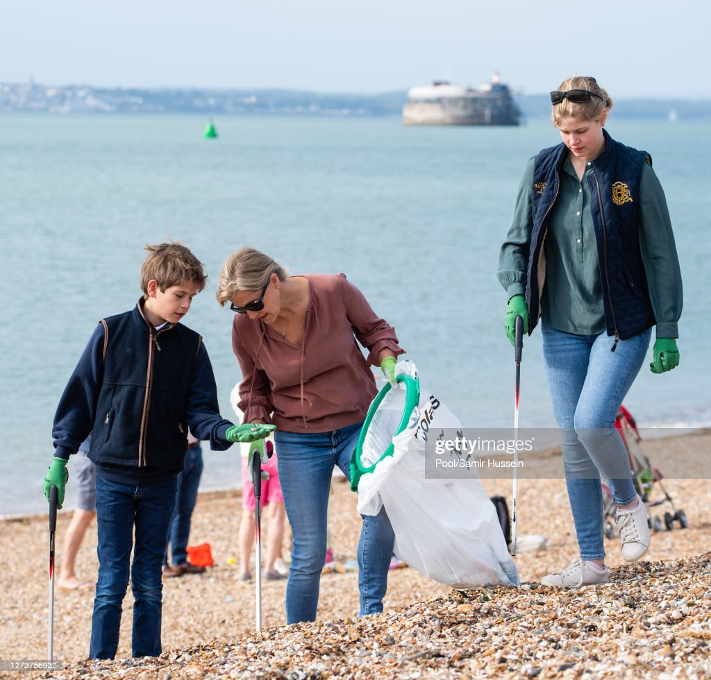 The Earl And Countess Of Wessex Take Part In A Great British Beach Clean : News Photo