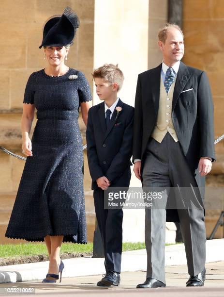 Sophie, Countess of Wessex, James, Viscount Severn and Prince Edward, Earl of Wessex attend the wedding of Princess Eugenie of York and Jack...