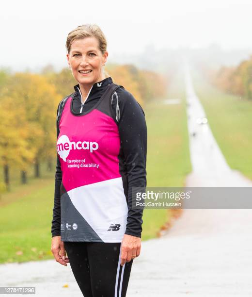 Sophie, Countess of Wessex joins a member of Mencap's Learning Disability Running Team for the first 1.5 miles of their Virtual London Marathon along...