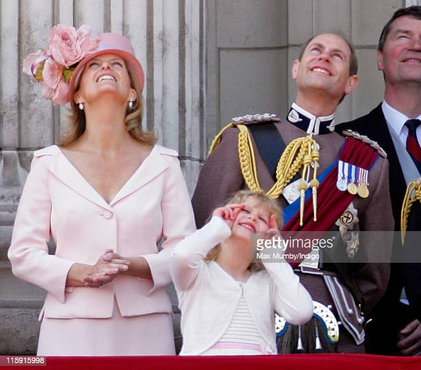 Sophie, Countess of Wessex, Lady Louise Windsor and Prince Edward, Earl of Wessex stand on the balcony of Buckingham Palace after the Trooping the...
