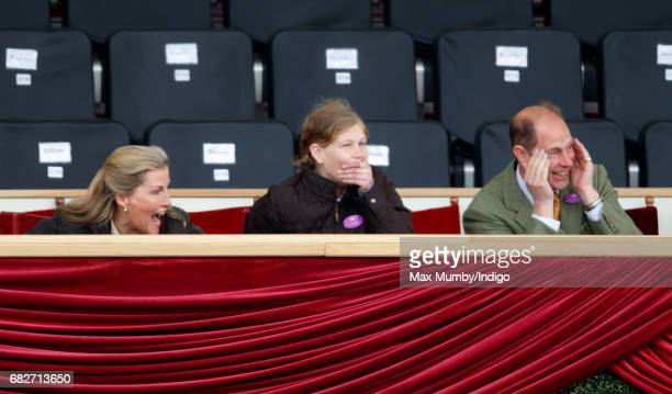 Sophie Countess of Wessex Lady Louise Windsor and Prince Edward Earl of Wessex react as they watch the Pony Club event on day 4 of the Royal Windsor...