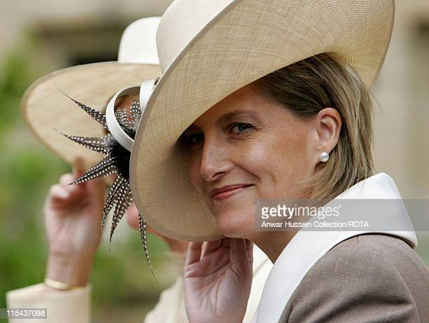 Sophie Countess of Wessex leaves St George's Chapel in Windsor following the annual Garter Service on June 19 2006 The Duke of York and the Earl of...