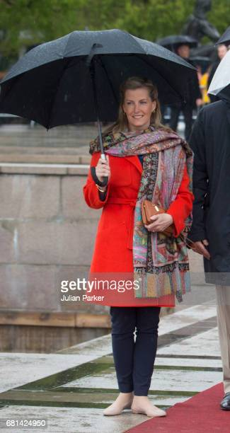 Sophie Countess of Wessex leaves to attend a lunch on the Norwegian Royal Yacht 'Norge' as part of the celebrations of the 80th Birthdays of King...