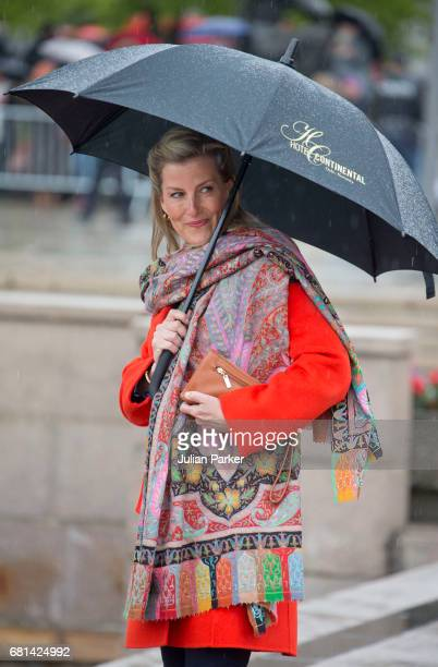 Sophie Countess of Wessex leaves to attend a lunch on the Norwegian Royal Yacht Norge as part of the celebrations of the 80th Birthdays of King...