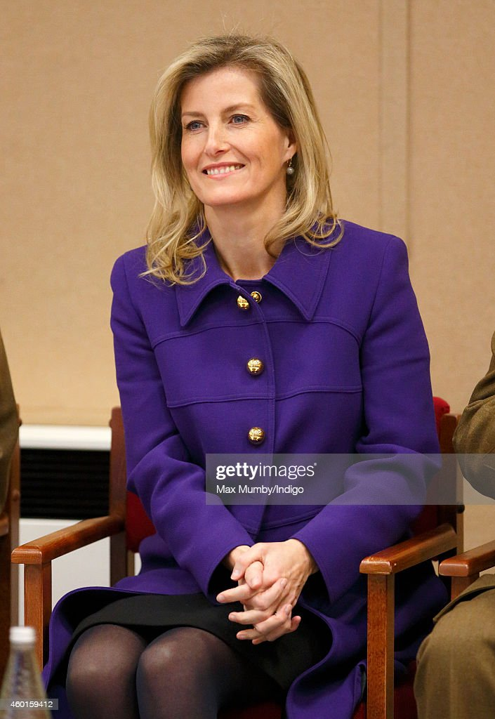 Sophie, Countess of Wessex (in her role as Colonel-in-Chief, Corps of Army Music) listens to a performance by musicians of The Countess of Wessex's String Orchestra during a visit to the Royal Artillery Barracks, Woolwich on December 8, 2014 in London, England.