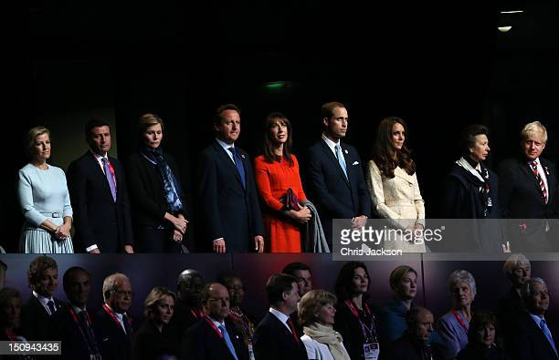 Sophie Countess of Wessex LOCOG chairman Lord Sebastian Coe and his wife Carole Annett Prime Minister David Cameron Samantha Cameron Prince William...