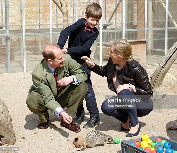 Sophie Countess of Wessex looks on as James Viscount Severn attempts to put a live cricket down Prince Edward Earl of Wessex's back as they feed...