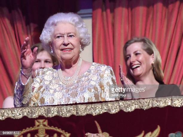 Sophie Countess of Wessex looks on as Queen Elizabeth II greets the audience at the Royal Albert Hall for a starstudded concert to celebrate her 92nd...