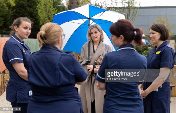 Sophie, Countess of Wessex marks International Nurses Day with a visit to Frimley Park Hospital on May 12, 2021 in Camberley, England.