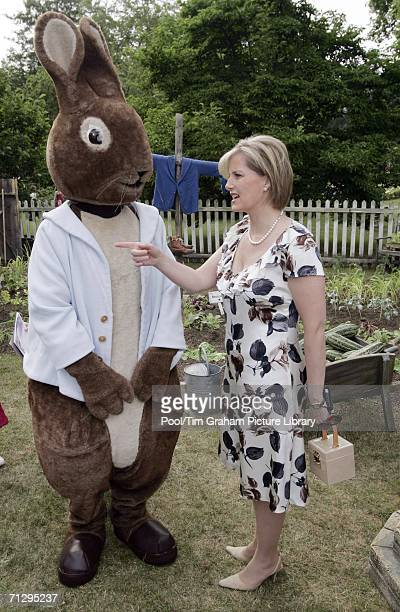 Sophie Countess of Wessex meets Beatrix Potter character at the Children's Party at the Palace a children's literacy garden party hosted by the Queen...
