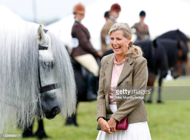 Sophie, Countess of Wessex meets competitors in an equine show class as she visits the Westmorland County Show on September 9, 2021 in Milnthorpe,...