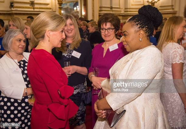 Sophie Countess of Wessex meets Sarah Chinyanga of Oxleas NHS Foundation Trust at a reception to celebrate frontline nursing in the UK at Buckingham...
