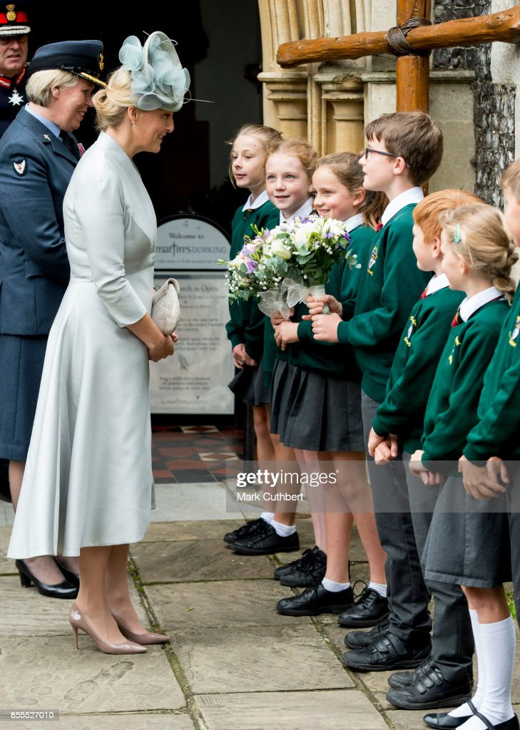 Sophie, Countess Of Wessex, meets school children at the Headley Court Farewell parade at St Martins Church on September 29, 2017 in Dorking, England.