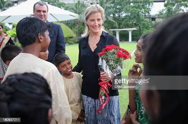 Sophie Countess of Wessex meets schoolchildren during a welcome at the ITC Sonar Kolkata Hotel on day 1 of her visit to India with the Charity ORBIS...