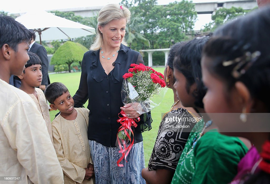 Sophie, Countess of Wessex meets schoolchildren during a welcome at the ITC Sonar Kolkata Hotel on day 1 of her visit to India with the Charity ORBIS on September 18, 2013 in Kolkata, India. During her solo visit to India the Countess is supporting the sight saving charity ORBIS.The Countess will visit the ORBIS Flying Eye Hospital in Kolkata, India where she will witness patients undergoing surgery. Onboard HRH will meet medical volunteers from around the world who share their skills with local eye care workers to improve eye care in local communities.