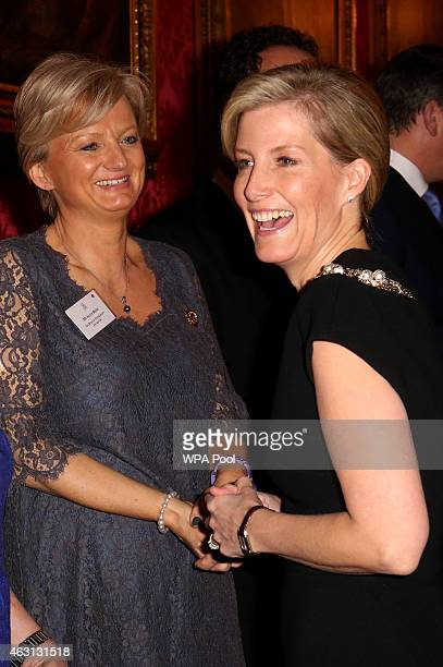 Sophie Countess of Wessex meets television presenter Alice Beer during a reception to celebrate the patronages affiliations of the Earl and Countess...