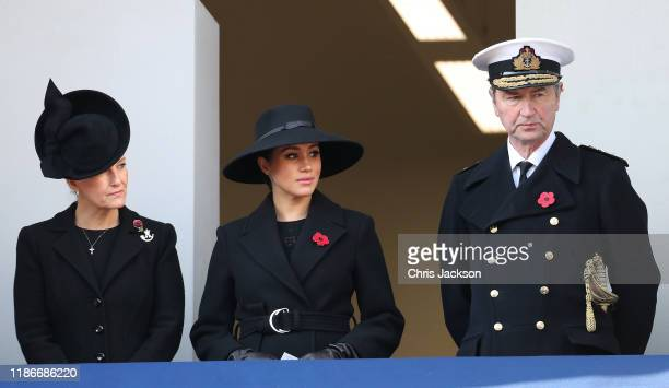 Sophie Countess of Wessex Meghan Duchess of Sussex and Navy Officer Timothy Laurence attend the annual Remembrance Sunday memorial at The Cenotaph on...