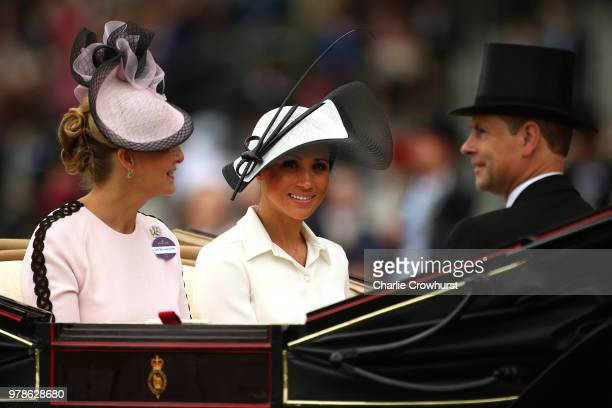 Sophie Countess of Wessex Meghan Duchess of Sussex and Prince Edward Earl of Wessex attend day 1 of Royal Ascot at Ascot Racecourse on June 19 2018...