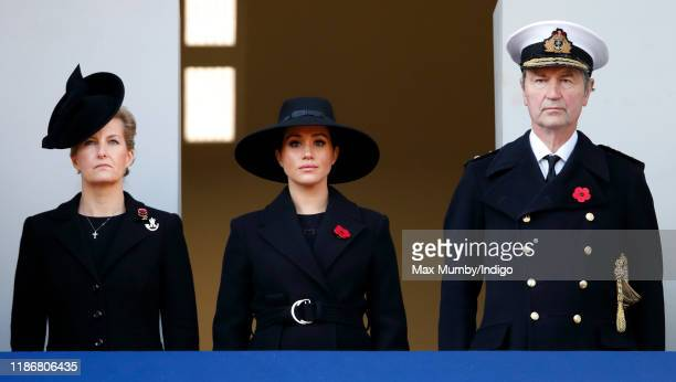 Sophie Countess of Wessex Meghan Duchess of Sussex and Vice Admiral Sir Timothy Laurence attend the annual Remembrance Sunday service at The Cenotaph...