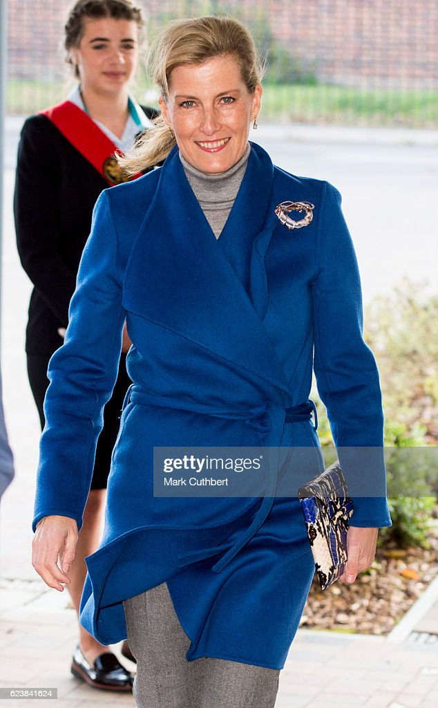 Sophie, Countess of Wessex opens Portesbery School on November 17, 2016 in Camberley, England.