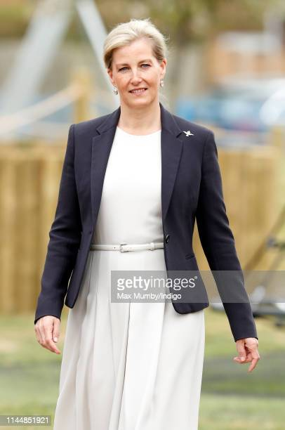 Sophie, Countess of Wessex opens the new Centenary Play Park during a visit to RAF Wittering on April 24, 2019 in Peterborough, England.