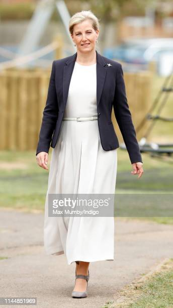 Sophie Countess of Wessex opens the new Centenary Play Park during a visit to RAF Wittering on April 24 2019 in Peterborough England