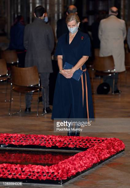 Sophie, Countess of Wessex pays her respects at the Tomb of the Unknown Warrior as she attends the Sung Eucharist for All Souls' Day service at...