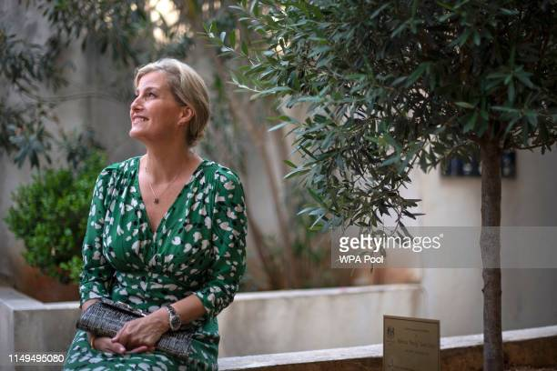 Sophie Countess of Wessex pays tribute to Rebecca Dykes the British diplomat who was killed in Beirut 2017 at a memorial tree planted in the grounds...