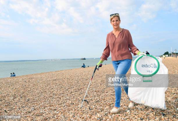 Sophie, Countess of Wessex picks litter as she takes part in the Great British Beach Clean on Southsea beach on September 20, 2020 in Portsmouth,...