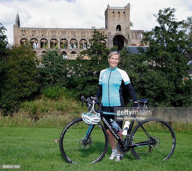 Sophie, Countess of Wessex poses for a photograph outside Jedburgh Abbey on day one of her Diamond Challenge cycle ride on September 19, 2016 in...