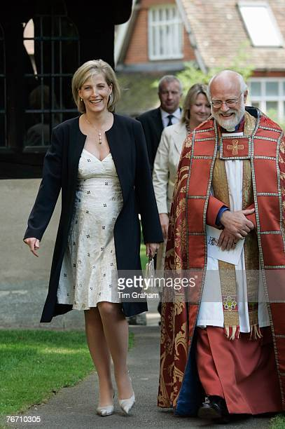 Sophie Countess of Wessex pregnant with her second child visits St Nicolas Church on September 12 2007 in Cranleigh Surrey England