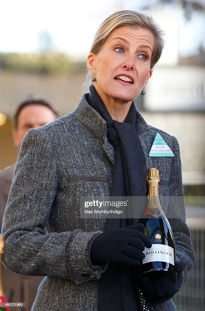 Sophie, Countess of Wessex presents a bottle of Bollinger Champagne to the winner of the JLT Long Walk Hurdle race as she attends the Christmas Meeting at Ascot Racecourse on December 20, 2014 in Ascot, England.