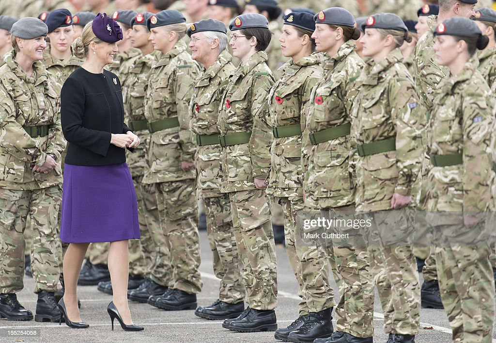 Sophie, Countess of Wessex presents Operational Service Medals for duty in Afghanistan to 22 Field hospital, Aldershot troops on November 2, 2012 in Aldershot, England.